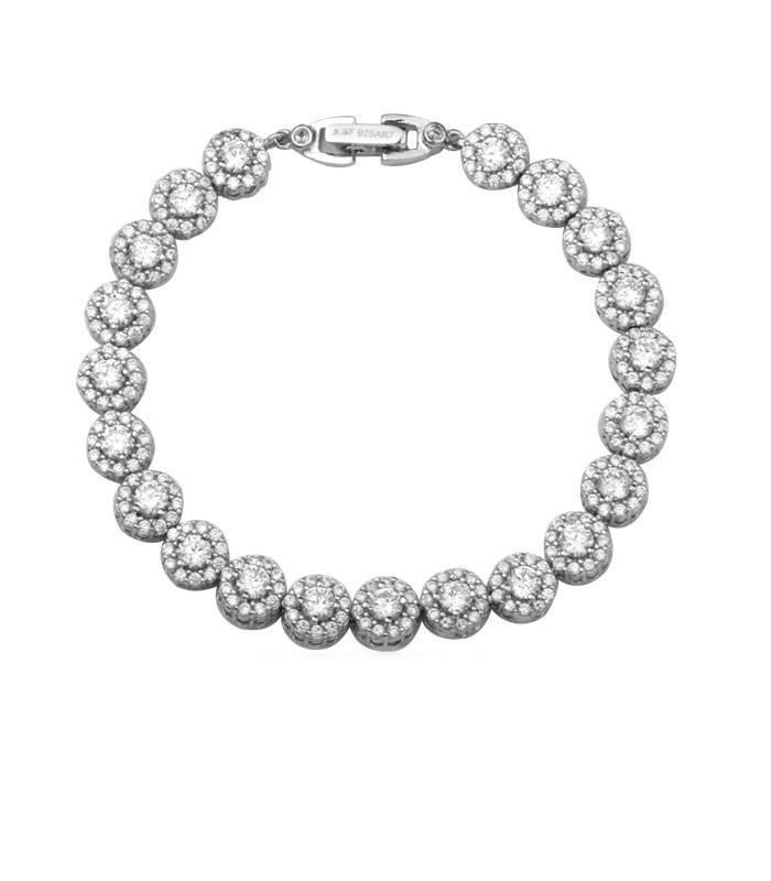 abedf85fa5a8 Pulsera plata rosetones circonitas