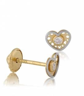 Pendientes oro 18k bicolor corazón y circonita