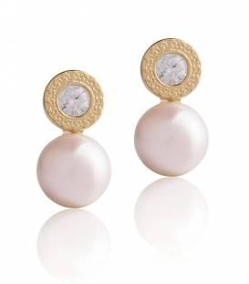 Pendientes oro 18k, circonita y perla cultivada