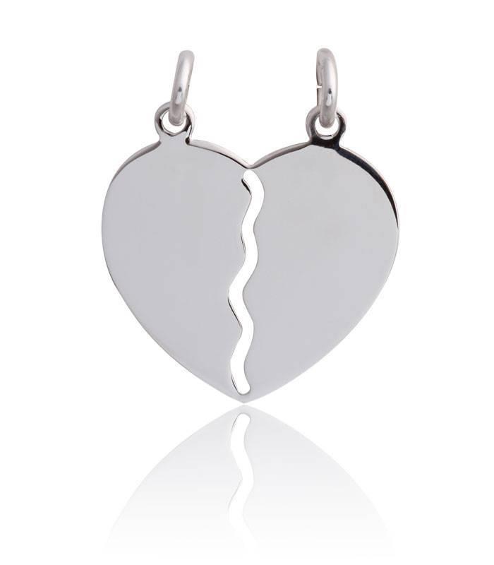Colgante plata tu y yo corazón
