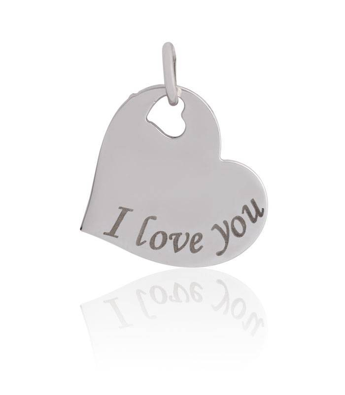 "Colgante plata de ley ""I love you"""