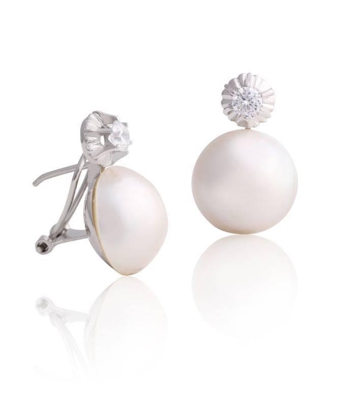 Pendientes oro blanco 18k y perla