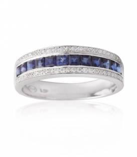 Anillo Zafiro y Diamantes oro blanco 18k