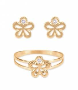 Conjunto flor Oro 18k y diamante
