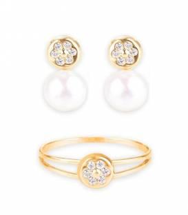 Conjunto Oro 18k con perla y circonitas