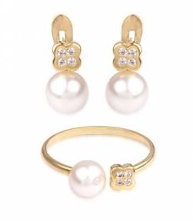Conjunto Oro 18k perlas y circonitas