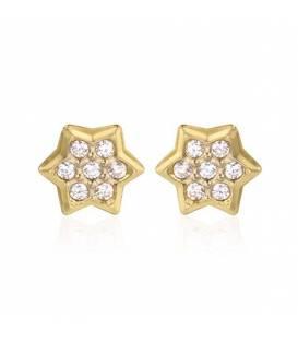 Pendientes Oro 18k circonitas Estrella