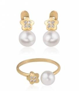 Pendientes Oro 18k perla y circonitas