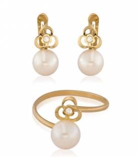 Conjunto Oro 18k perla y circonita