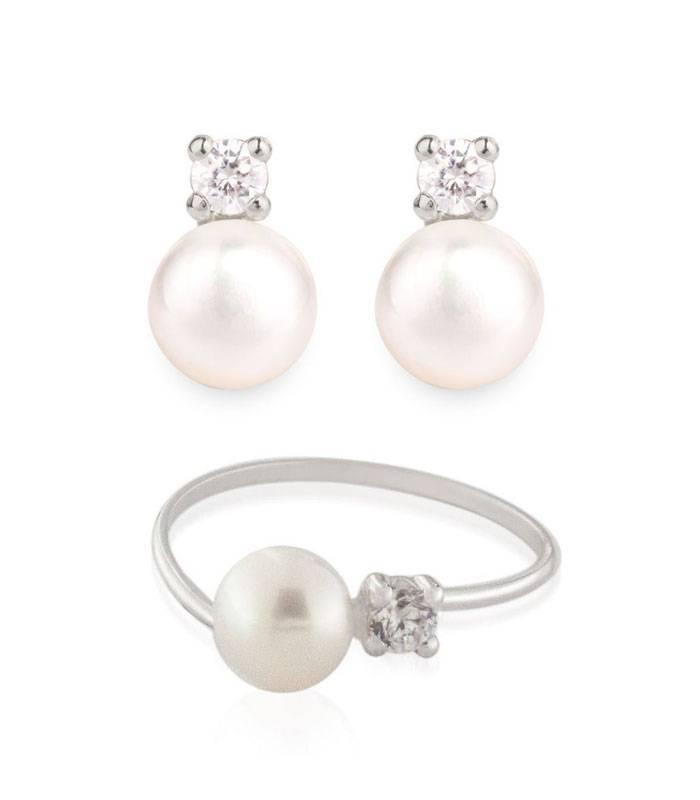 fac2b91e9356 Conjunto Oro blanco 18k perla y circonita