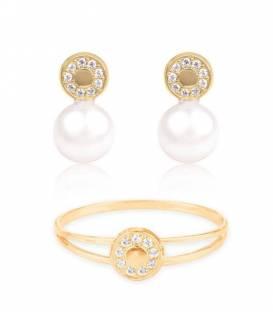 Conjunto Oro 18k perla y circonitas