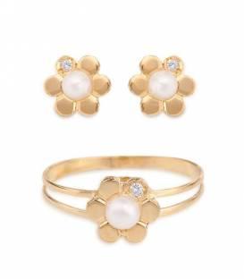 Conjunto flor Oro 18k con diamante