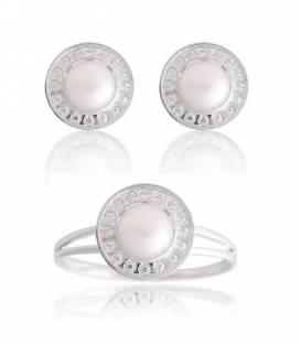 Conjunto Oro blanco 18k perlas y circonitas