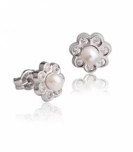 Conjunto Flor Oro blanco 18k perla y circonitas