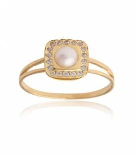 Pendientes cuadrado Oro 18k perla y circonitas