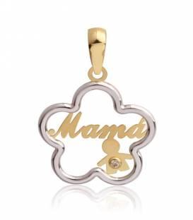 Colgante Oro bicolor Mamá