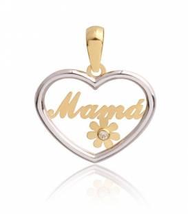 Colgante Corazón Oro bicolor 18k Mamá