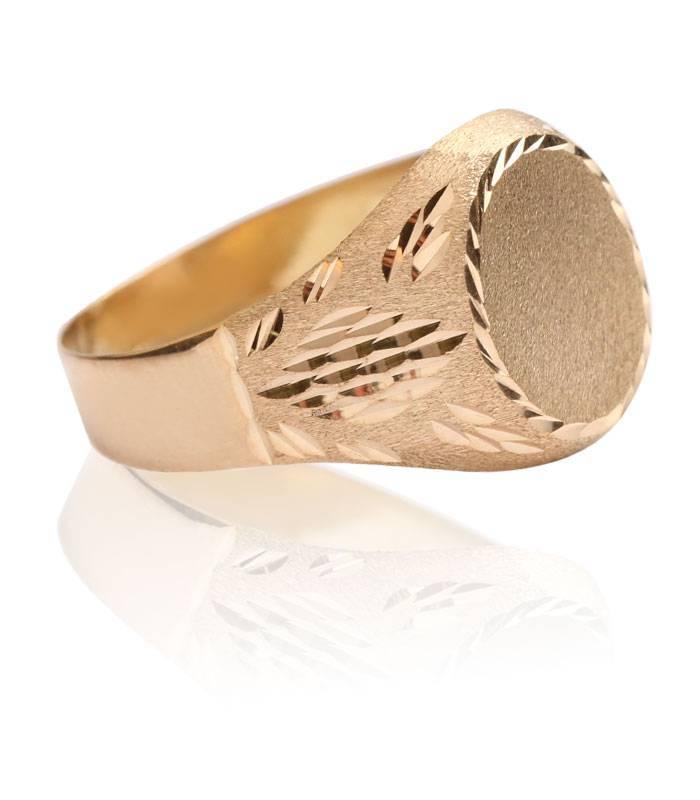 Sello Oro 18k redondo tallado