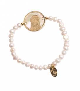 Pulsera Perlas Baño oro 18k Virgen