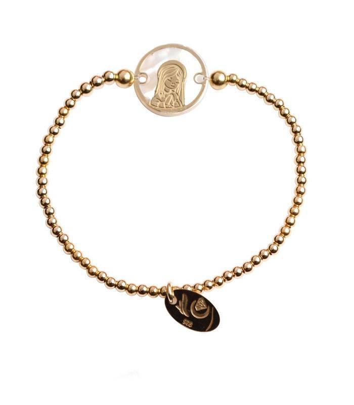 Pulsera bolas Baño oro 18k Virgen