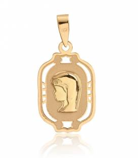 Medalla Virgen niña Oro 18k relieve