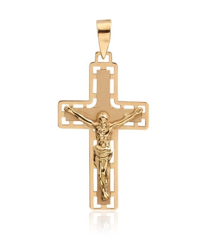 Cruz Oro 18k cuadrada con Cristo grande