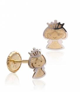 Pendientes Oro bicolor 18k Princesa