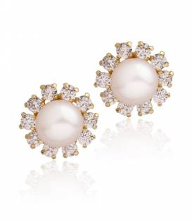 Pendientes niña flor Oro 18k perla y circonitas