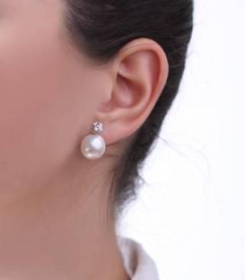 Pendientes Oro Blanco con Perla