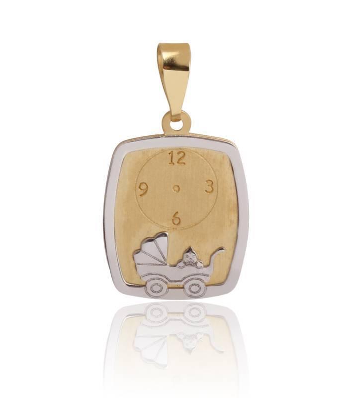 Medalla bebé Oro 18k bicolor