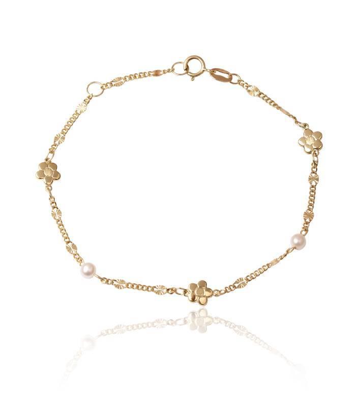 f90426d9470f Pulsera Oro 18k flores y perlas