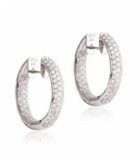Pendientes aro Oro blanco 18k y Diamante