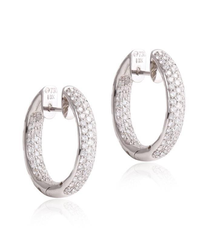 b7262e2e7967 Pendientes aro Oro blanco 18k y Diamante