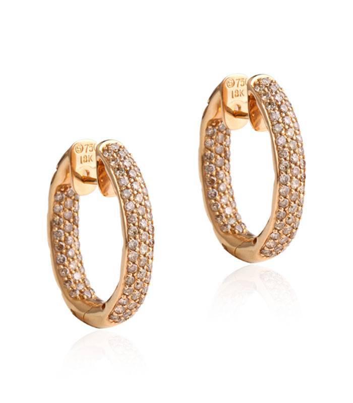 Pendientes aro Oro blanco 18k y Diamantes