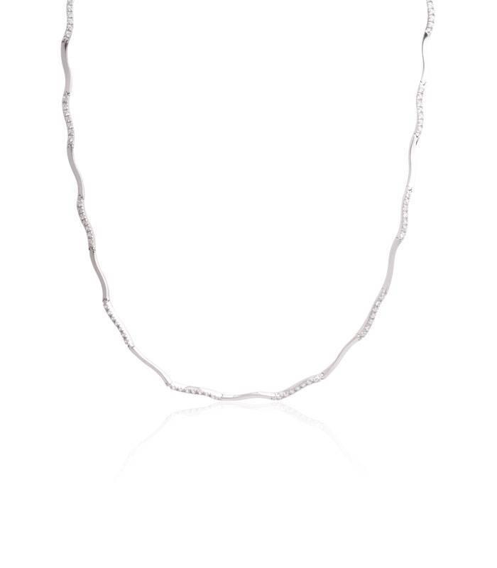Collar Oro blanco 18k onda