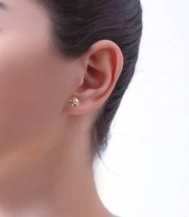 Pendientes perlas Oro 18k tallado