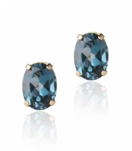 Pendientes Oro 18k y piedra London Blue