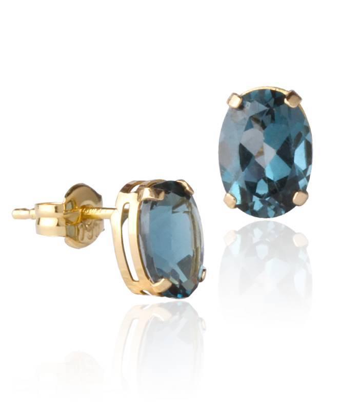 Pendientes Oro 18k y piedra London Blue