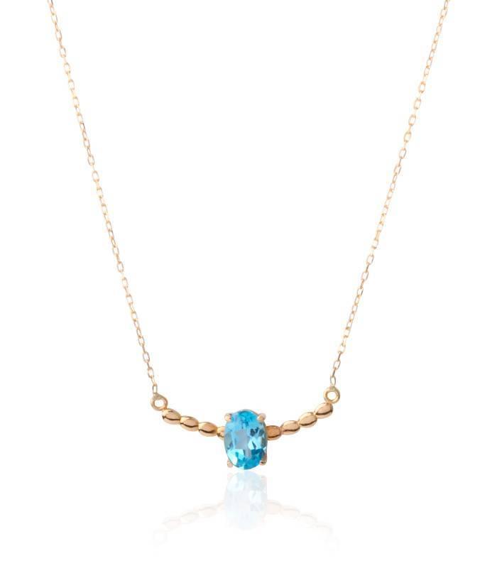 Gargantilla Oro 18k con topacio azul