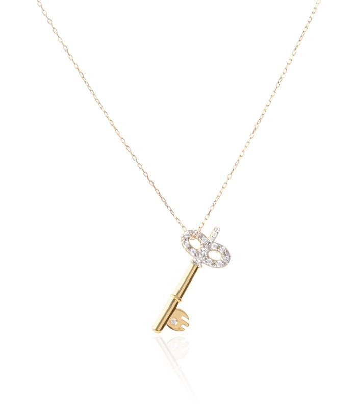 Gargantilla llave de Oro 18k con circonitas