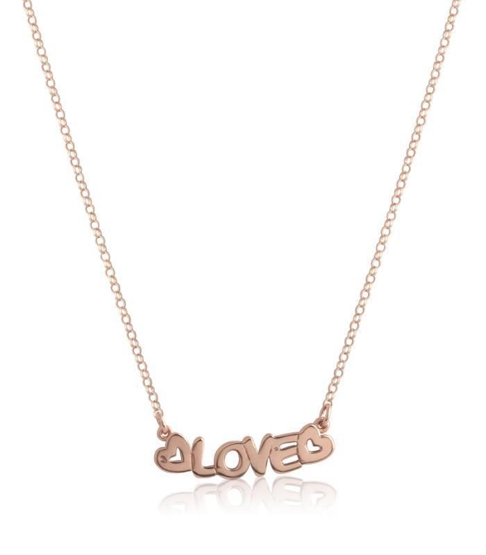 """Gargantilla """"LOVE"""" corazones plata de ley"""