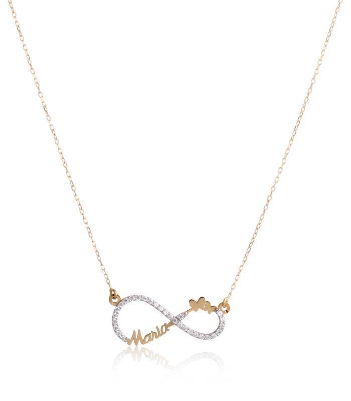Collar de nombre de Oro Rosa de 18k