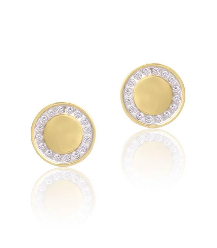 Pendientes Oro 18k redondos con circonitas