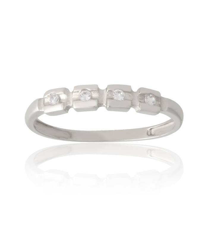 Anillo Blocks oro blanco 18k y circonitas