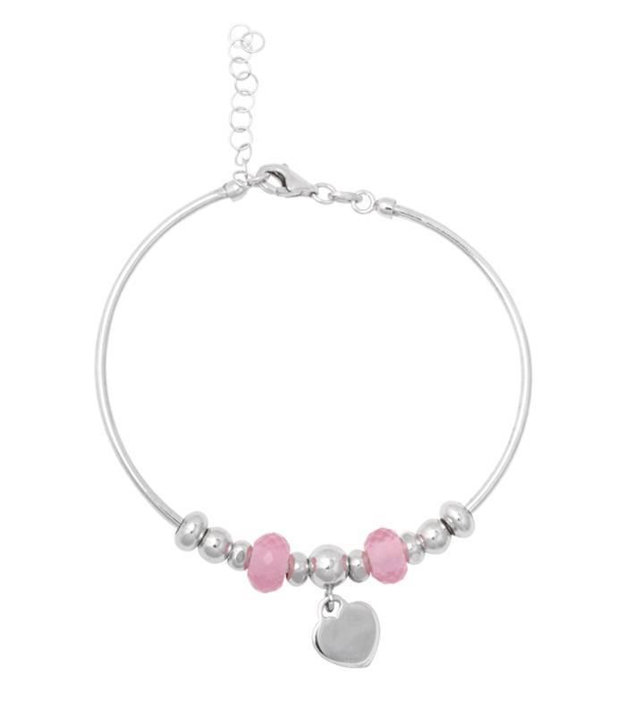 3df42ed4dde6 Pulsera rígida plata de ley con colgante y cristales rosas