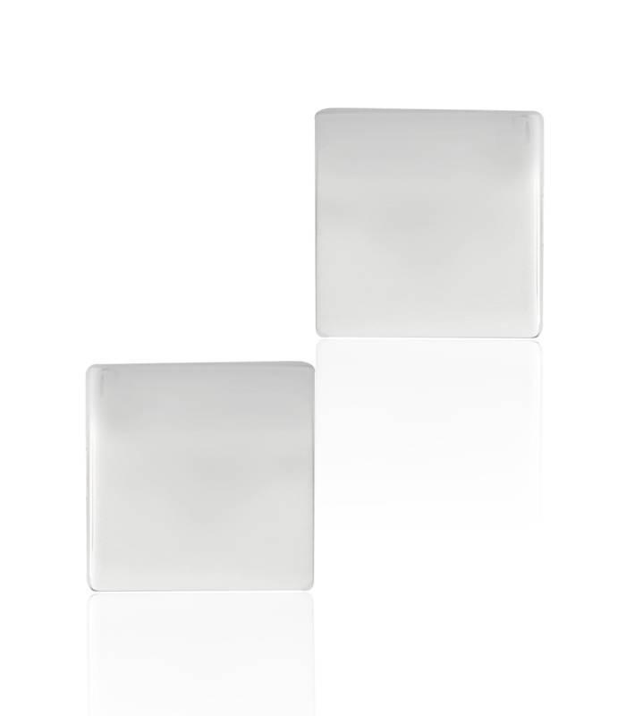 Gemelos Plata de ley cuadrados pulidos