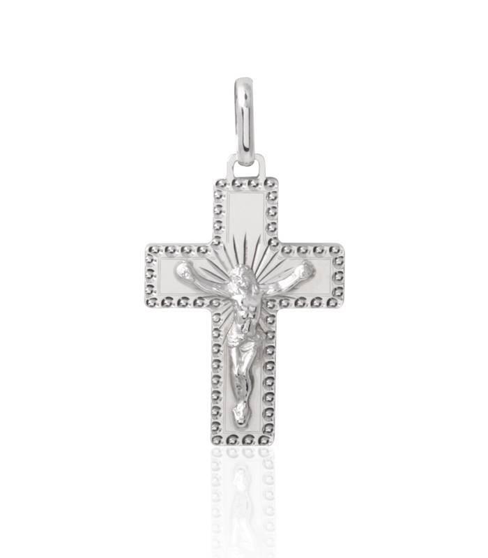 0d7129722067 Cruz tallada y pulida con Cristo Plata de Ley