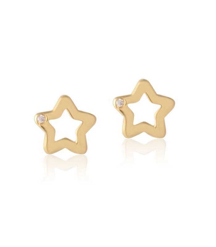 """Pendientes """"Angels"""" Star Oro 18k y diamante"""