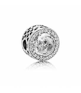 Charm Pandora en plata de ley y oro Corazón Logo 796233CZ