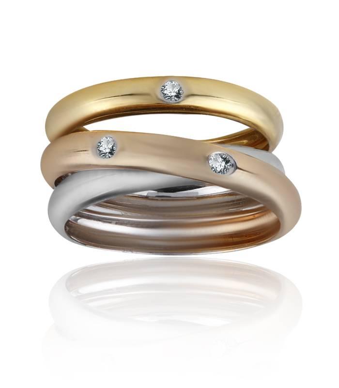 Anillo Triple de Oro Tricolor 18k y Diamantes 0,07 cts
